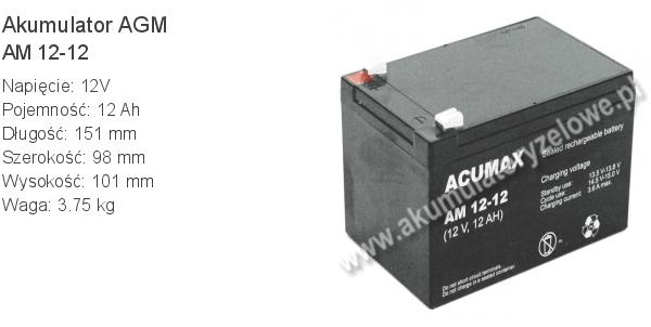 Akumulator 12V 12Ah ACUMAX AM 12-12. 12 12 AGM.