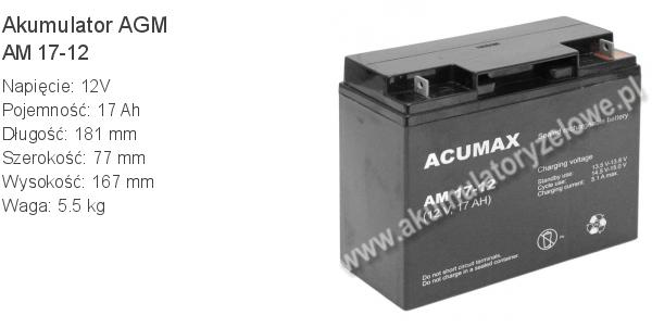 Akumulator 12V 17Ah ACUMAX AM 17-12. 12 17 AGM.