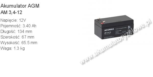 Akumulator 12V 3.4Ah ACUMAX AM 3,4-12. 12 3 AGM.