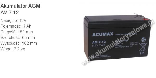 Akumulator 12V 7Ah ACUMAX AM 7-12. 12 7 AGM.