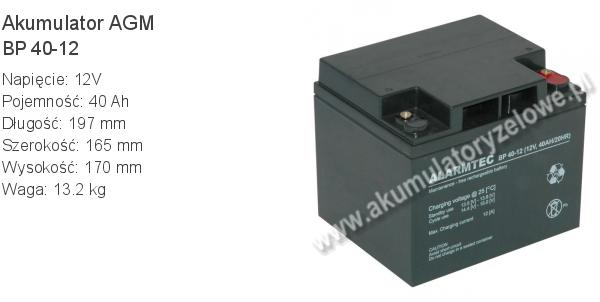 Akumulator 12V 40Ah ALARMTEC BP 40-12 197x165x170mm 13.2kg 12 40 AGM.