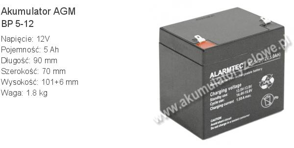 Akumulator 12V 5Ah ALARMTEC BP 5-12 90x70x101+6mm 1.8kg 12 5 AGM.