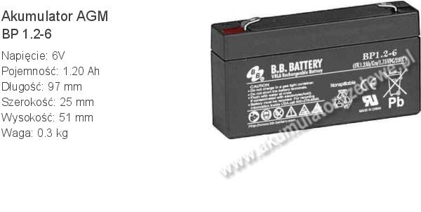 Akumulator 6V 1.2Ah B.B. Battery BP 1.2-6 97x25x51mm 0.3kg 6 1.2 AGM.