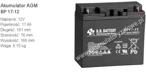 Akumulator 12V 17Ah B.B. Battery BP 17-12 181x76x166mm 6.15kg 12 17 AGM.