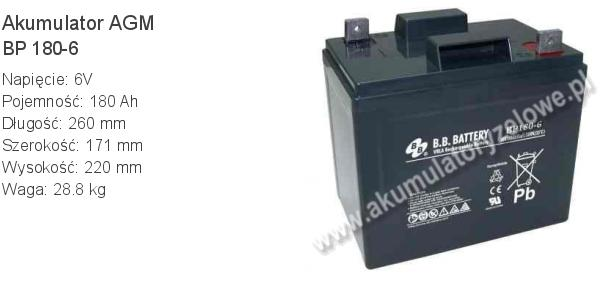 Akumulator 6V 180Ah B.B. Battery BP 180-6 260x171x220mm 28.8kg 6 180 AGM.