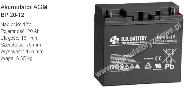 Akumulator 12V 20Ah B.B. Battery BP 20-12 181x76x166mm 6.35kg 12 20 AGM.