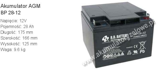 Akumulator 12V 28Ah B.B. Battery BP 28-12 175x166x125mm 12 28 AGM.