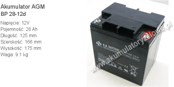 Akumulator 12V 28Ah B.B. Battery BP 28-12d 125x166x175mm 9.1kg 12 28 AGM.