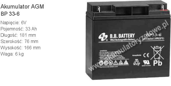 Akumulator 6V 33Ah B.B. Battery BP 33-6 181x76x166mm 6kg 6 33 AGM.