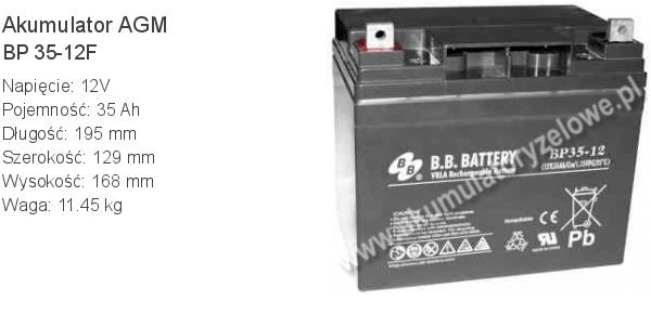 Akumulator 12V 35Ah B.B. Battery BP 35-12F 195x129x168mm 11.45kg 12 35 AGM.