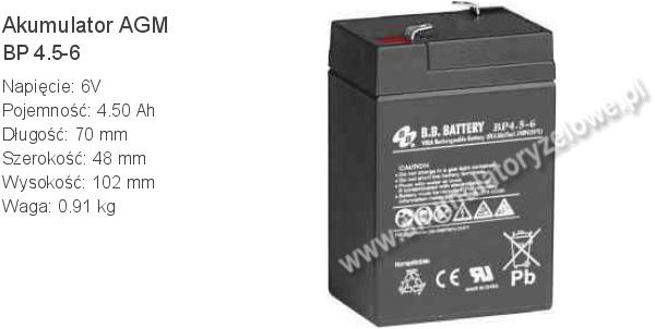 Akumulator 6V 4.5Ah B.B. Battery BP 4.5-6 70x48x102mm 0.91kg 6 4.5 AGM.
