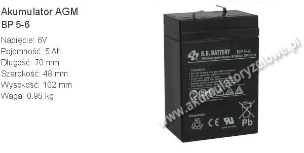 Akumulator 6V 5Ah B.B. Battery BP 5-6 70x48x102mm 0.95kg 6 5 AGM.