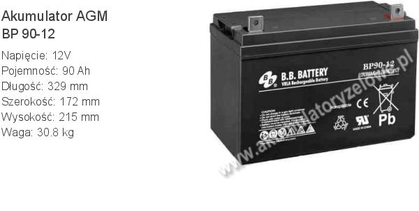 Akumulator 12V 90Ah B.B. Battery BP 90-12 329x172x215mm 30.8kg 12 90 AGM.
