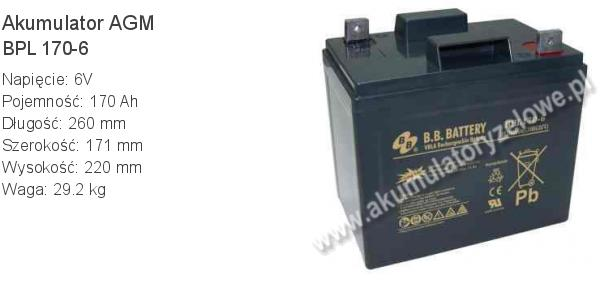 Akumulator 6V 170Ah B.B. Battery BPL 170-6 260x171x220mm 6 170 AGM.
