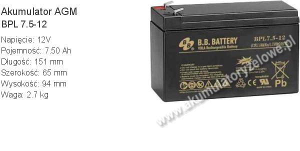 Akumulator 12V 7.5Ah B.B. Battery BPL 7.5-12 151x65x94mm 12 7.5 AGM.
