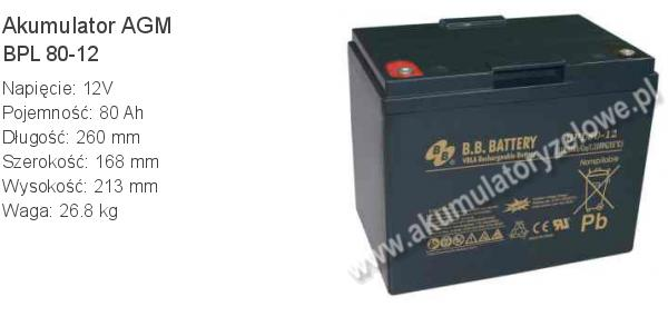 Akumulator 12V 80Ah B.B. Battery BPL 80-12 260x168x213mm 26.8kg 12 80 AGM.