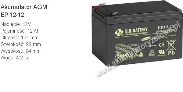 Akumulator 12V 12Ah B.B. Battery EP 12-12 151x98x94mm 4.2kg 12 12 AGM.