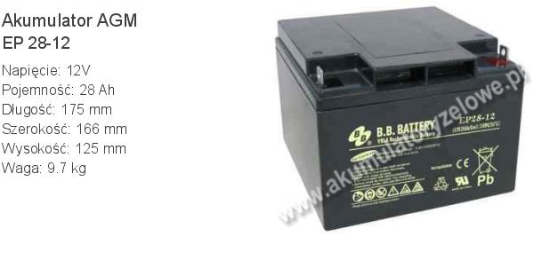 Akumulator 12V 28Ah B.B. Battery EP 28-12 175x166x125mm 12 28 AGM.