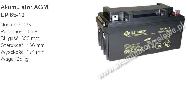 Akumulator 12V 65Ah B.B. Battery EP 65-12 350x166x174mm 25kg 12 65 AGM.