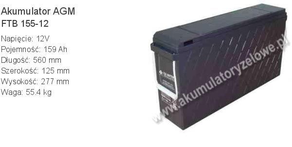 Akumulator 12V 159Ah B.B. Battery FTB 155-12 560x125x277mm 55.4kg 12 155 AGM.