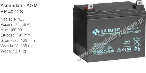 Akumulator 12V 38Ah B.B. Battery HR 40-12S 195x129x155mm 12.1kg 12 40 AGM.