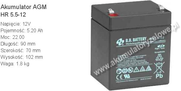 Akumulator 12V 5Ah B.B. Battery HR 5.5-12 90x70x102mm 1.8kg 12 5.5 AGM.
