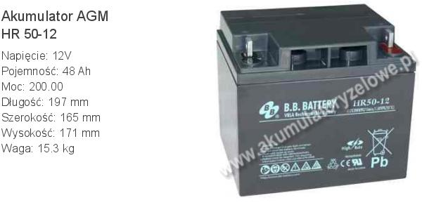 Akumulator 12V 48Ah B.B. Battery HR 50-12 197x165x171mm 15.3kg 12 50 AGM.