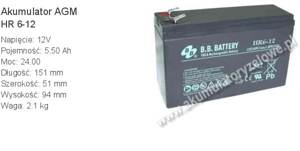 Akumulator 12V 5.5Ah B.B. Battery HR 6-12 151x51x94mm 2.1kg 12 6 AGM.