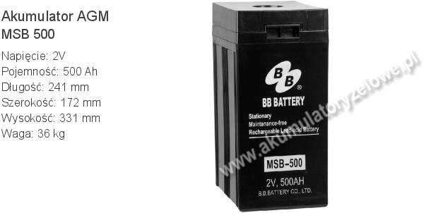 Akumulator 2V 500Ah B.B. Battery MSB 500 241x172x331mm 36kg 0 500 AGM.