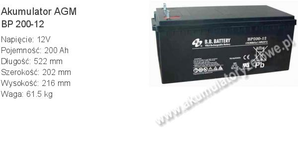 Akumulator 12V 200Ah B.B. Battery BP 200-12 522x202x216mm 61.5kg 12 200 AGM.