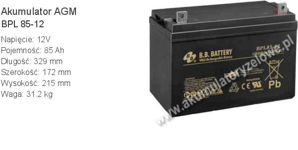 Akumulator 12V 85Ah B.B. Battery BPL 85-12 329x172x215mm 31.2kg 12 85 AGM.