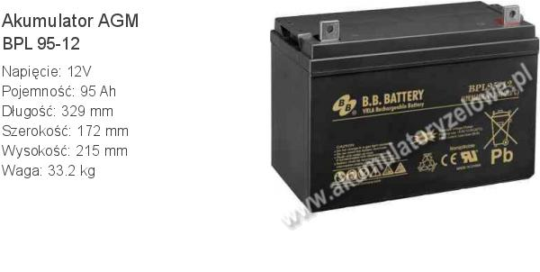 Akumulator 12V 95Ah B.B. Battery BPL 95-12 329x172x215mm 33.2kg 12 95 AGM.