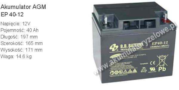 Akumulator 12V 40Ah B.B. Battery EP 40-12 197x165x171mm 14.6kg 12 40 AGM.