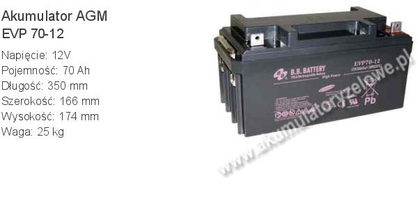 Akumulator 12V 70Ah B.B. Battery EVP 70-12 350x166x174mm 25kg 12 70 AGM.