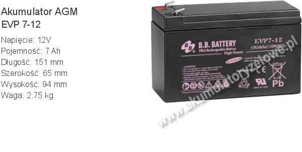 Akumulator 12V 7Ah B.B. Battery EVP 7-12 151x65x94mm 2.75kg 12 7 AGM.