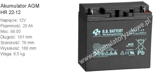 Akumulator 12V 20Ah B.B. Battery HR 22-12 181x76x166mm 6.5kg 12 22 AGM.