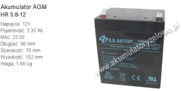 Akumulator 12V 5.3Ah B.B. Battery HR 5.8-12 90x70x102mm 1.88kg 12 5.8 AGM.