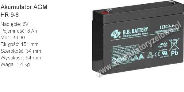 Akumulator 6V 8Ah B.B. Battery HR 9-6 151x34x94mm 1.4kg 6 9 AGM.