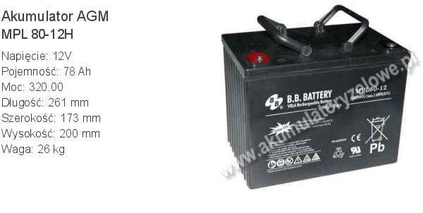 Akumulator 12V 78Ah B.B. Battery MPL 80-12H 261x173x200mm 26kg 12 80 AGM.