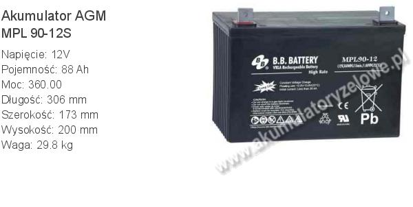 Akumulator 12V 88Ah B.B. Battery MPL 90-12S 306x173x200mm 29.8kg 12 90 AGM.