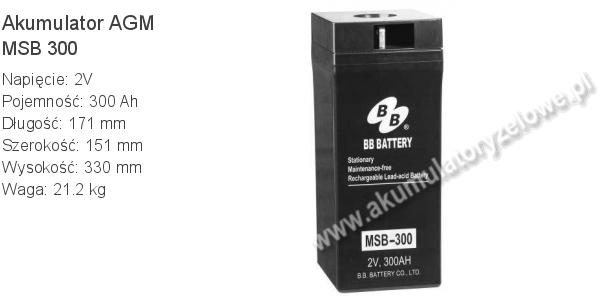 Akumulator 2V 300Ah B.B. Battery MSB 300 171x151x330mm 21.2kg 0 300 AGM.