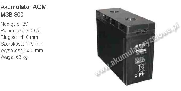 Akumulator 2V 800Ah B.B. Battery MSB 800 410x175x330mm 63kg 0 800 AGM.