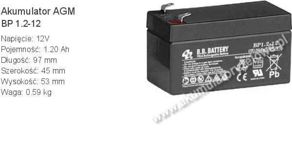Akumulator 12V 1.2Ah BB Battery BP 1.2-12. 12 1.2 AGM.