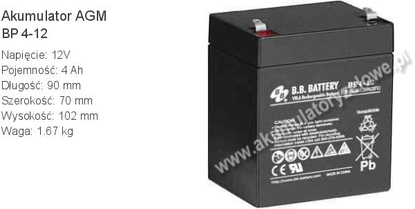 Akumulator 12V 4Ah BB Battery BP 4-12. 12 4 AGM.