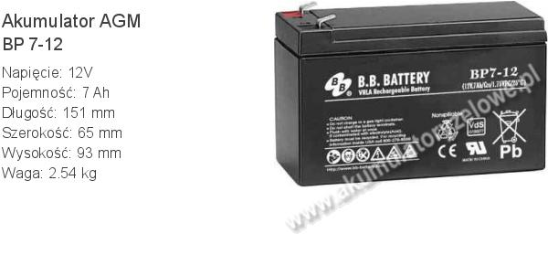Akumulator 12V 7Ah BB Battery BP 7-12 151x65x93mm 12 7 AGM.
