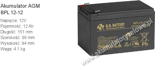 Akumulator 12V 12Ah BB Battery BPL 12-12. 12 12 AGM.