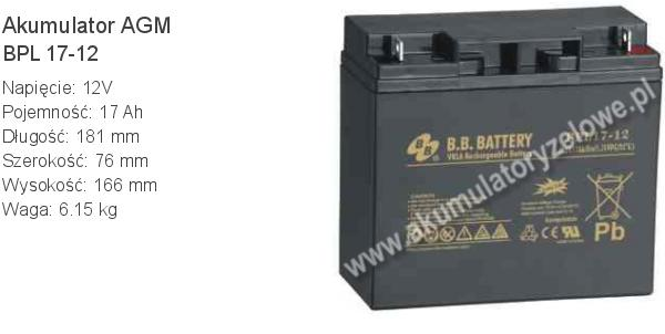 Akumulator 12V 17Ah BB Battery BPL 17-12. 12 17 AGM.