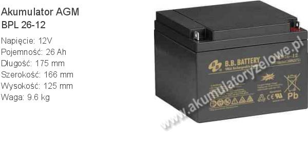 Akumulator 12V 26Ah BB Battery BPL 26-12 175x166x125mm 12 26 AGM.