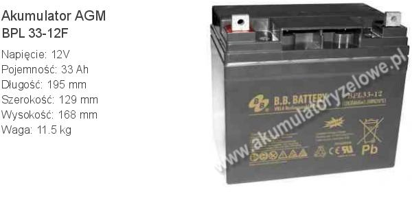 Akumulator 12V 33Ah BB Battery BPL 33-12F 195x129x168mm 12 33 AGM.