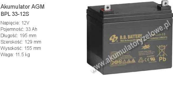 Akumulator 12V 33Ah BB Battery BPL 33-12S. 12 33 AGM.